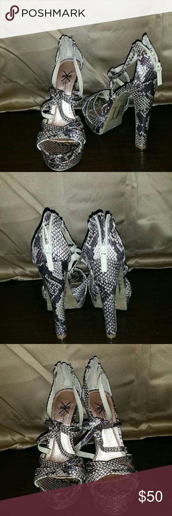 Kardashian collection python stiletto heels Never worn Kardashian Kollection python print platform stiletto heels Kardashian Kollection Shoes Heels