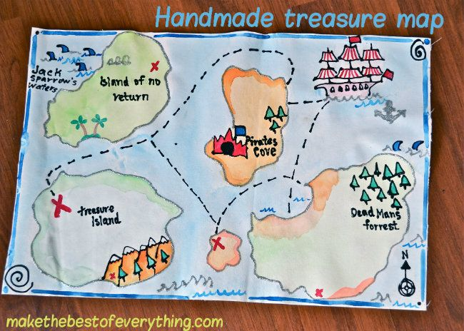 Kids Treasure Map- watercolors, puffy paint and canvas from the craft store