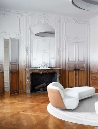 Classic Parisians, Modern Living Rooms, White Walls, Ombree Lik Wall, Ombre Painting, Living Room Designs, Modern Baroque, Wood Walls, Appartment Haussmannien