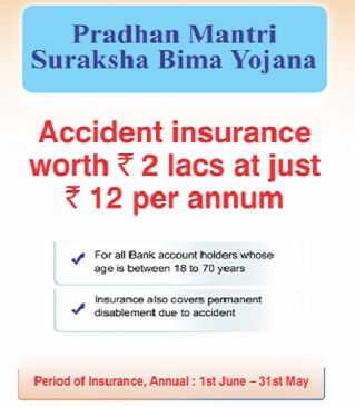 """With a premium of Rs.1 per month, Govt. of India has launched a new plan called """"Pradhan Mantri Suraksha Bima Yojana"""". For further details please visit the site."""