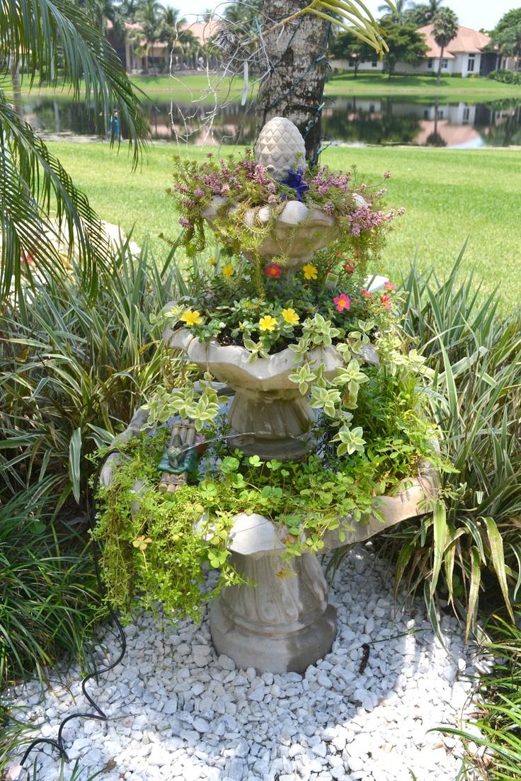 3 tier fountain turned garden oasis