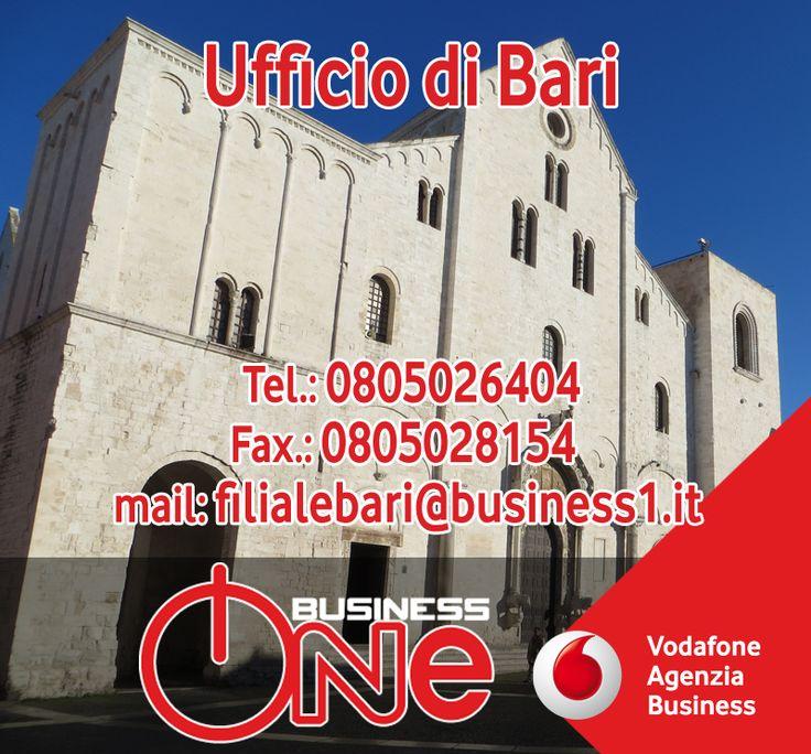 """Questa volta, per la serie """"ci mettiamo la faccia"""", vi presentiamo l'ufficio Business One di Bari. Siamo in Corso Alcide De Gasperi, 296e potete contattarci ai seguenti recapiti Tel.: 0805026404, Fax.: 0805028154, mail: filialebari@business1.it  In proposito, vi ricordiamo che per lo sviluppo della rete commerciale in Puglia, Business One, Agenzia Vodafone Business, ricerca venditori e direttori commerciali per la sede di Bari. Come sempre, per informazioni e contatti: info@business1.it"""