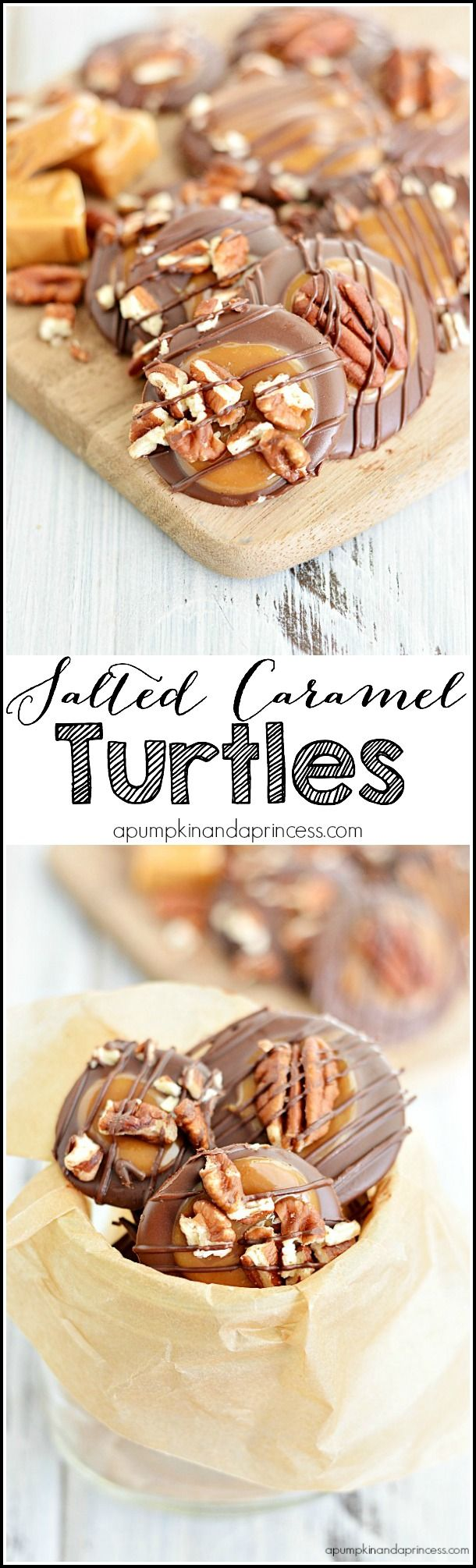 Salted Carmel Turtles | apumpkinandaprincess.com ~ Easy caramel turtles and salted caramel turtles – great for holiday gifts!