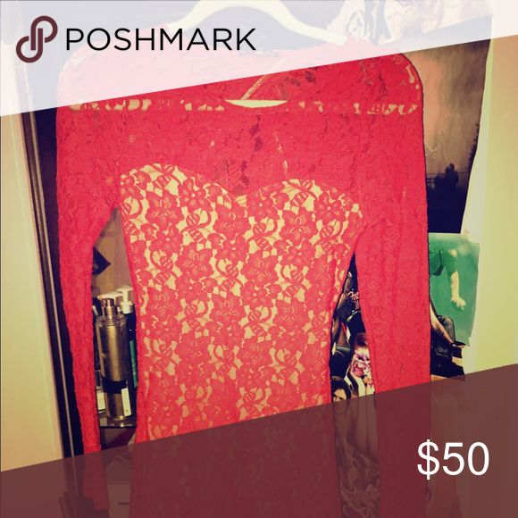 Express lace body con Only worn once. Red lace body con with nude lining. Express Dresses Long Sleeve