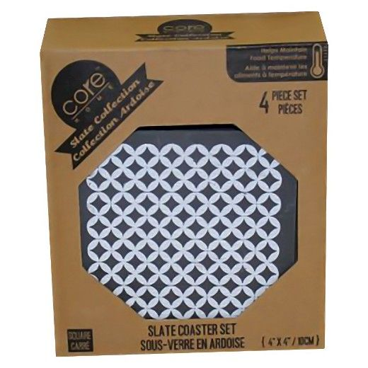 Core Home Square Sequin Slate Coasters - Set of 4