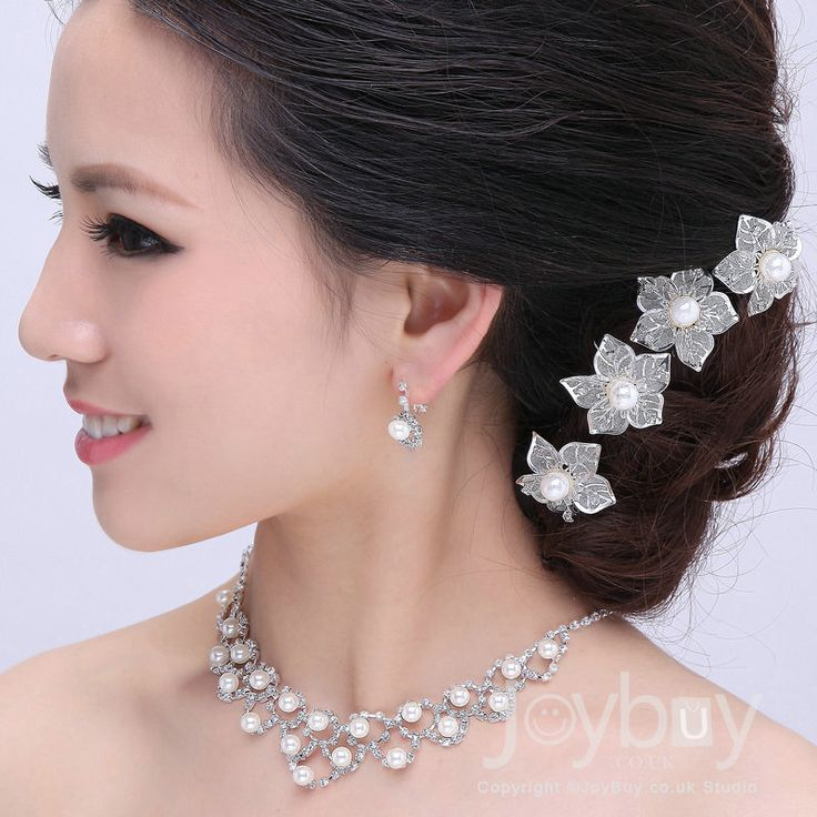 Flowers Tire Round Pearl Necklace Ear Drop Headpiece For Brides