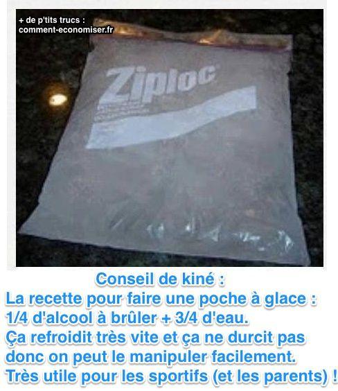 Saviez-vous que vous pouviez faire une poche à glace qui reste molle, pour bien envelopper votre blessure ? La preuve, cette astuce tenue d'un kiné, qui vous apprend à faire vous-même une poche à glace, prête en 5 min Découvrez l'astuce ici : http://www.comment-economiser.fr/poche-glace-maison.html?utm_content=buffereaa3d&utm_medium=social&utm_source=pinterest.com&utm_campaign=buffer
