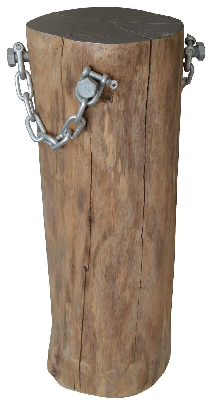Log Pedestal with Galvanised Steel Handle Chain and Painted Top. Great for pot plants, art pieces or candles.