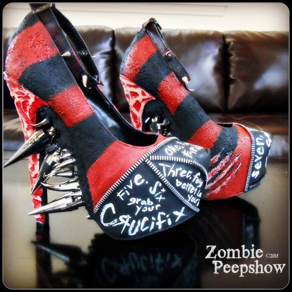 "Freddy Krueger ""Elm Street"" Spike Pumps. horror shoes. gore. Nightmare on Elm Street. Classic Horror"