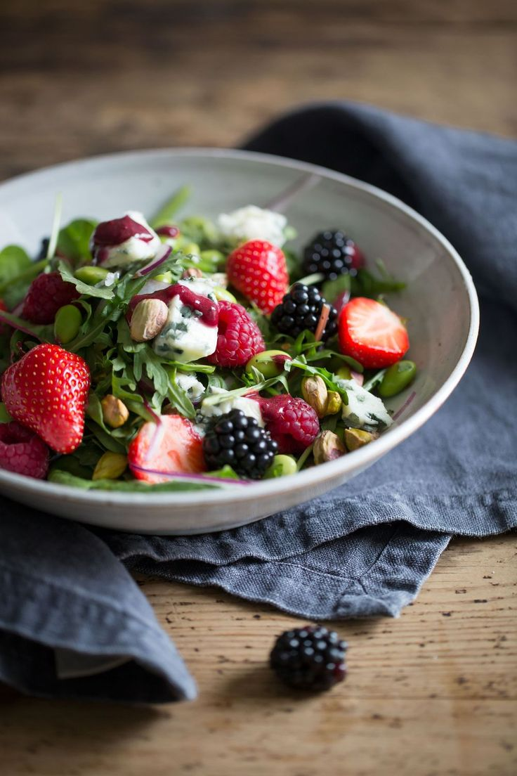 Summer Salad with Blue Cheese, Strawberries & a Blackberry & Raspberry Vinaigrette