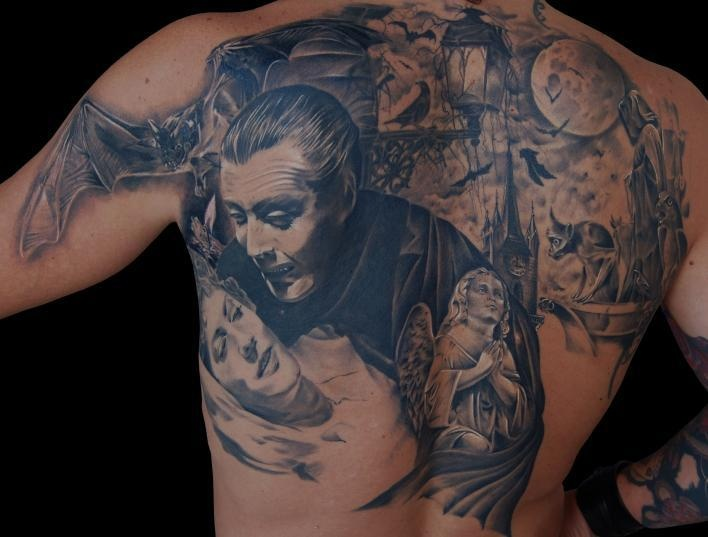 Awesome Dracula back piece by tattoo artist Antonio Bruno. For more cool tattoos: https://www.facebook.com/HowToTattooVideos