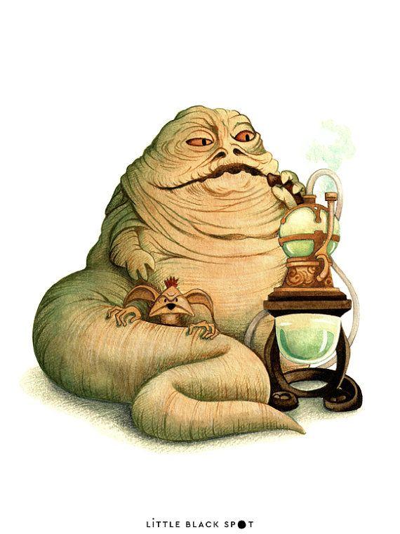 Star Wars  Jabba the Hutt  open edition art by littleblackspot