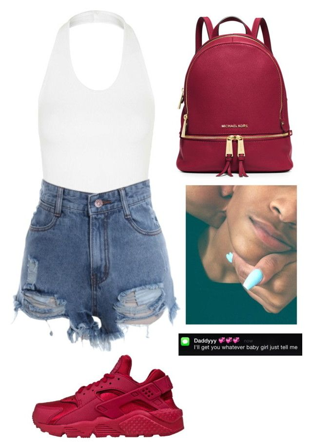 """Summer 16 Part 3"" by wifeyswag ❤ liked on Polyvore featuring Topshop, NIKE and MICHAEL Michael Kors"