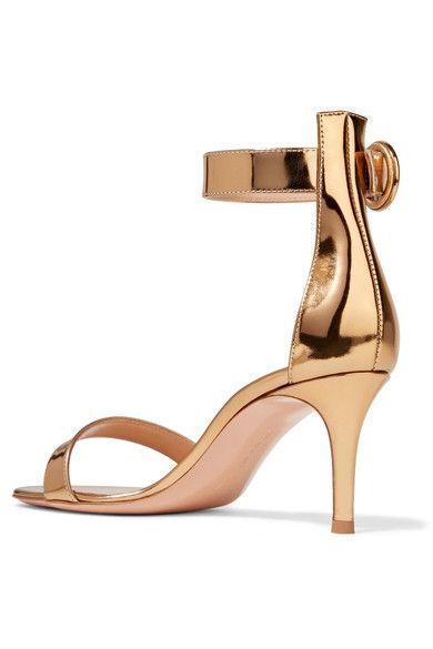 Gianvito Rossi - Portofino Metallic Leather Sandals - Gold - IT36.5