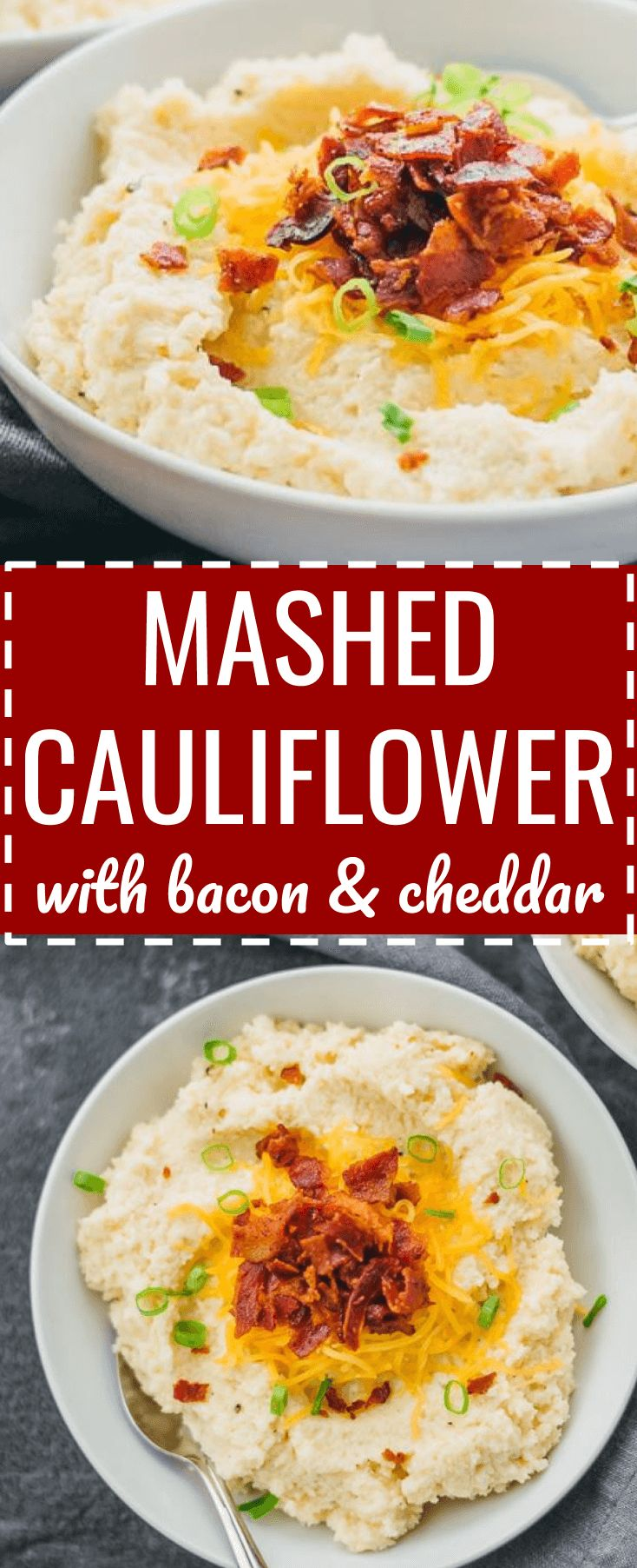 Step aside mashed potatoes -- this cheesy mashed cauliflower is creamy and fluffy, and topped with cheddar cheese and crispy bacon. loaded / keto / low carb / diet / atkins / induction / meals / recipes / easy / dinner / lunch / foods / healthy / recipe / garlic / paleo / whole 30 / with cream cheese / weight watchers / 21 day fix / how to make / best / creamy / rice / dinner / blender / simple / cheddar / leftovers / calories / quick #thanksgiving #sides via @savory_tooth