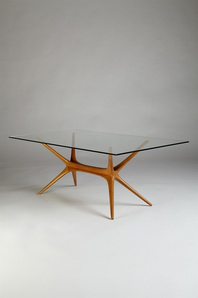 Designed by Tapio Wirkkala for Asko, Finland. 1958. Elm frame with glass top. Only a limited number made. H: 48 cm/ 19'' L: 118 cm/ 46 1/2'' D: 60 cm/ 23 1/2'