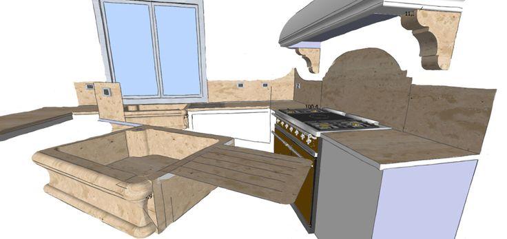 0004 progetto piani cucina in travertino classico e lavello scavato dal blocco con capitelli reggicappa, design by blancomarmo.it