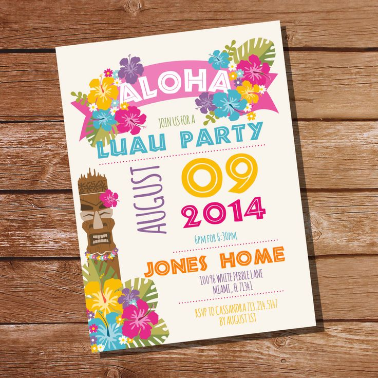 Luau Party Invitation - Hawaiian Party Invitation - Instant Download Editable File - Personalize at home with Adobe Reader by SunshineParties on Etsy https://www.etsy.com/listing/199080899/luau-party-invitation-hawaiian-party