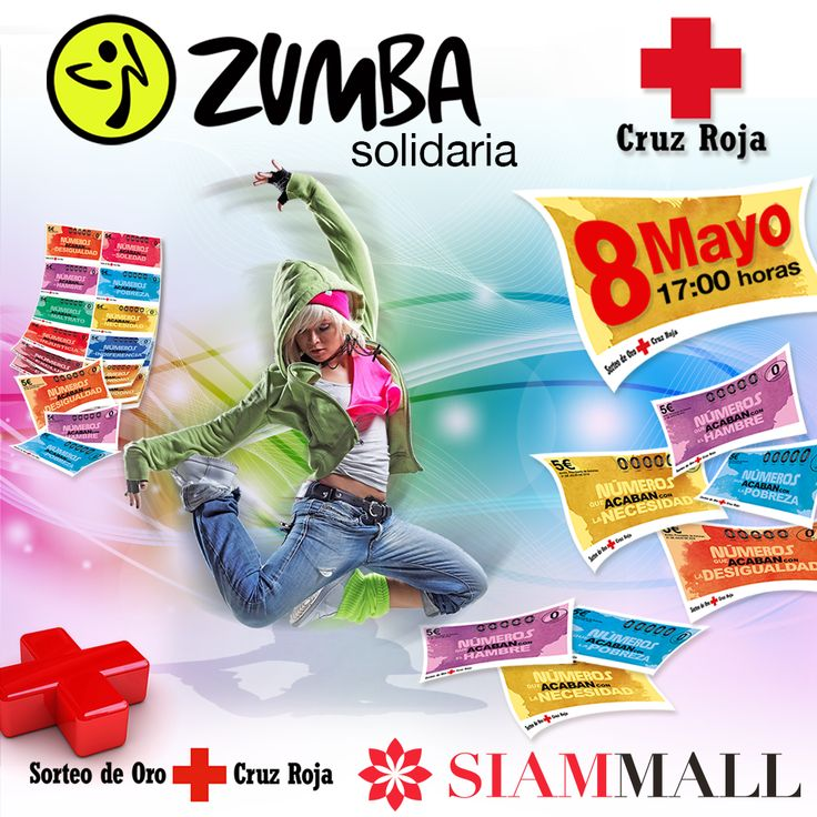 Este Domingo 8 de Mayo a las 17:00h traemos una clase de ZUMBA solidaria, donde no solo podrás bailar, mejorar tu salud y divertirte, también podrás comprar los boletos para el Sorteo del Oro de la Cruz Roja #JuntosSomosMás #CCSiamMall   This Sunday may 8th at 17:00h we'll have a  ZUMBA class with a good cause, you'll dance, improve your health and have fun, also you'll be able to buy the tickets for the red cross golden raffle. #bettertogether