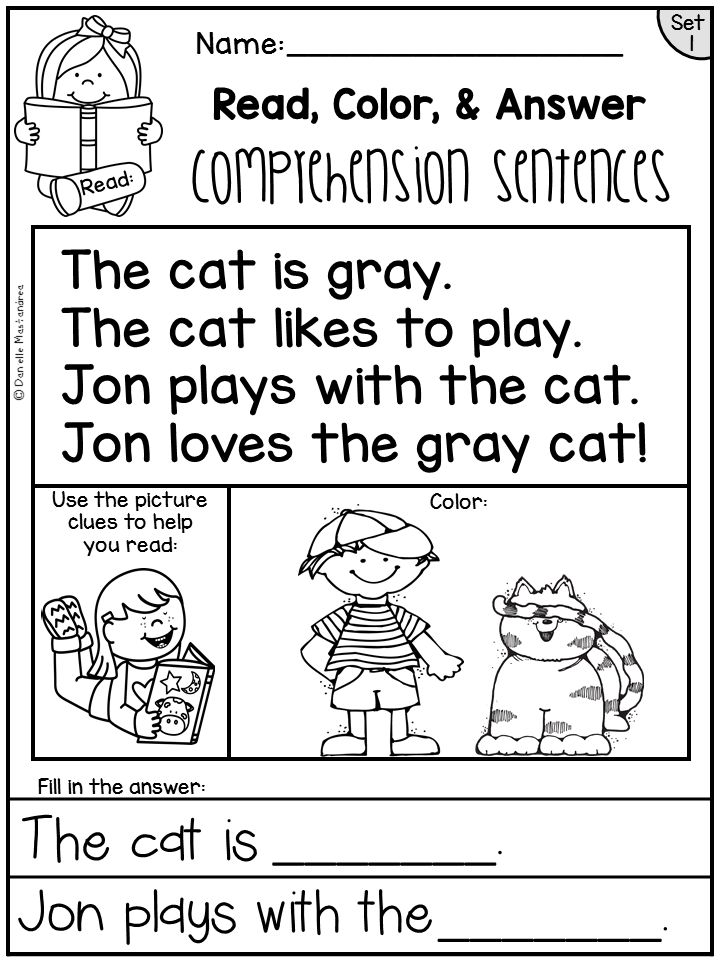 FREE Kindergarten Reading Comprehension Passages - Great for beginning readers!