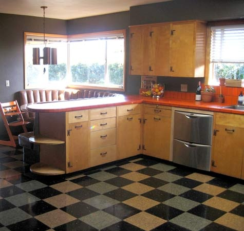 There are so many aspects of this kitchen that I love.  Let's start with the floor & then the cabinets.