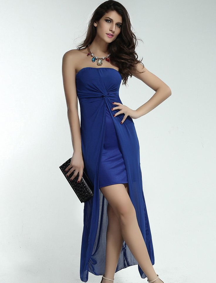Strapless Dress with Draped Top Sheet Blue