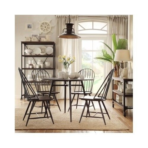 Dining Table Set 5 Piece Wood Metal Spindle Chairs ...