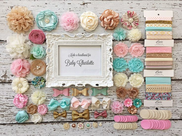 Baby Shower Headband Station - DIY Baby Headband Making Kit - Aqua, Ivory, Gold, Pink, and Beige - MAKES 15 + or 30+ HEADBANDS! by LuxeSupplyCo on Etsy https://www.etsy.com/listing/453590368/baby-shower-headband-station-diy-baby