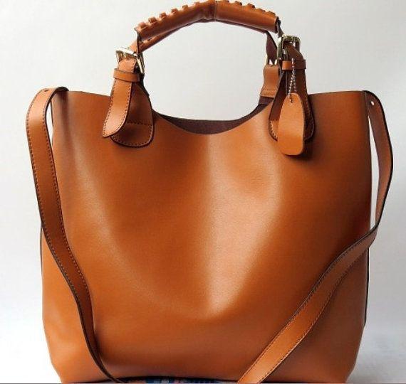 Brown Leather Bag Handbag Shoulder Bag Women Tote Hobo Bag Pouch Messanger  iPad Shopper Bag on Etsy, $85.99