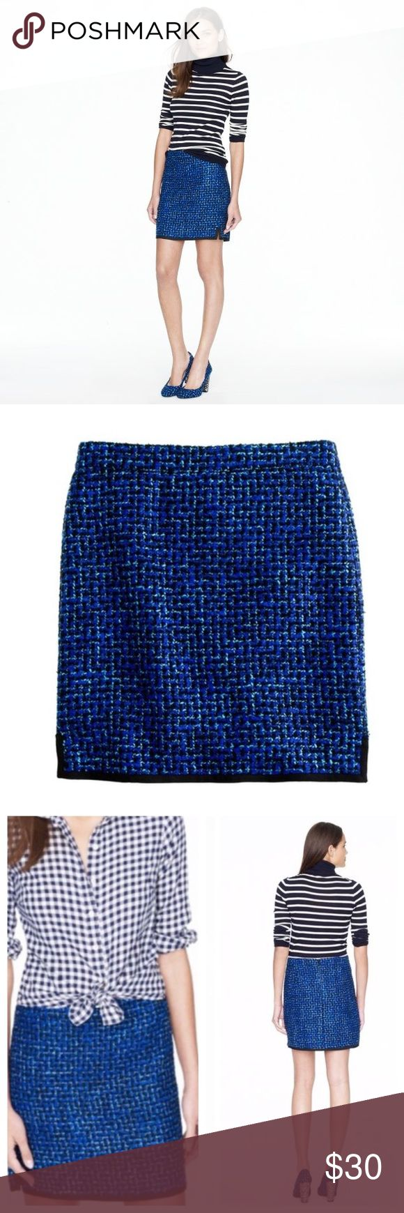 """J.Crew Postage Stamp Mini Skirt in Indigo Tweed J. Crew """"postage stamp mini"""" skirt in indigo tweed. EUC. Only worn a few times. It's beautiful skirt that works year round (add some tights in winter). Lined, size 2 but fits like a Small. J. Crew Skirts Mini"""