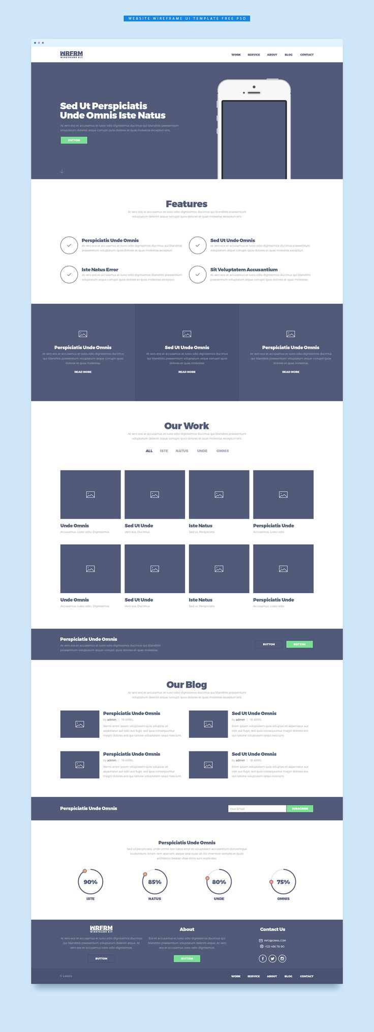 <p>Download Website Wireframe UI Template Free PSD. A wireframe UI kit which will help you create high quality website wireframe and will help you speed your work giving you more time to work on the final website design. The pack contains lots of components, each pixel perfect, with organised folder and layers making it easier to do changes. Website Wireframe UI Template Free PSD can help you create a full one page website. Hope you like it. Enjoy!</p>