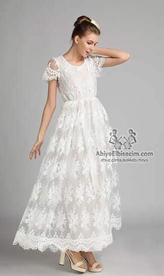 şifon beyaz elbise dantelli