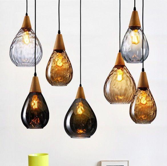 Creative Wood Glass Droplight Edison Vintage Hanging Pendant Light Fixtures For Indoor Lighting With Bulbs