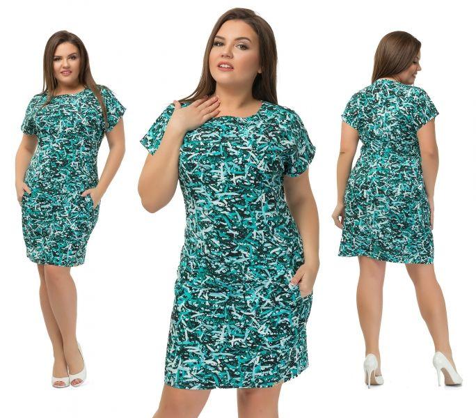 Легкое платье мини  в большом размере ,из ткани костюмный креп