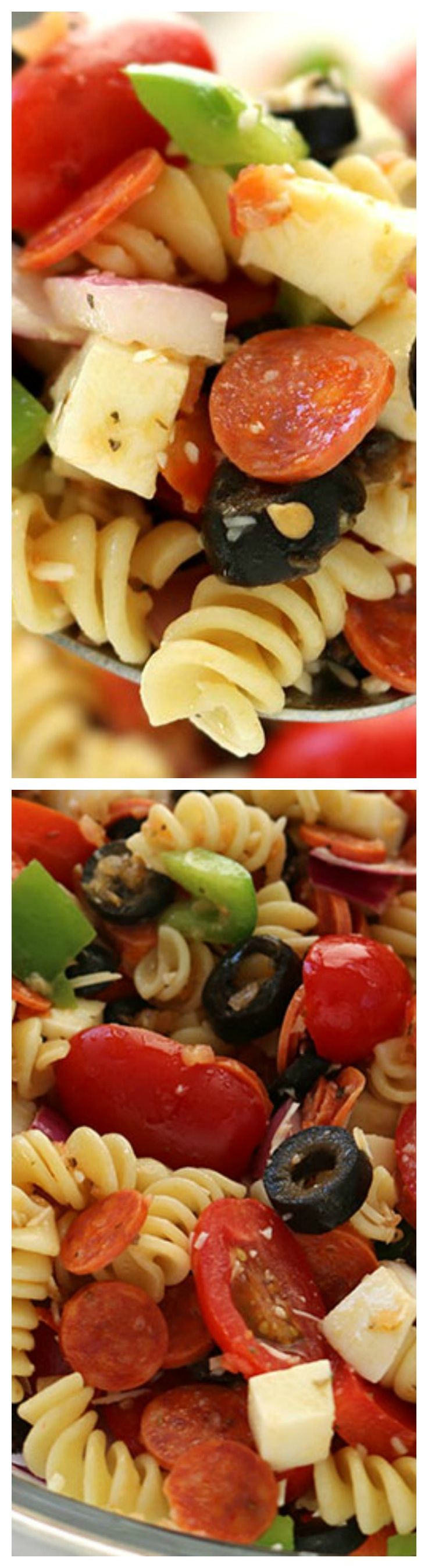 Pizza Pasta Salad ~ The tasty ingredients of a pizza right in a pasta salad... You will find it makes perfect side dish for your summer picnics, bbq's, and potlucks.