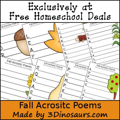 This is a post by Free Homeschool Deals contributor, Cassie at 3 Dinosaurs.   Fall is upon us and what is more fun that working on some fun acrostic poems wi