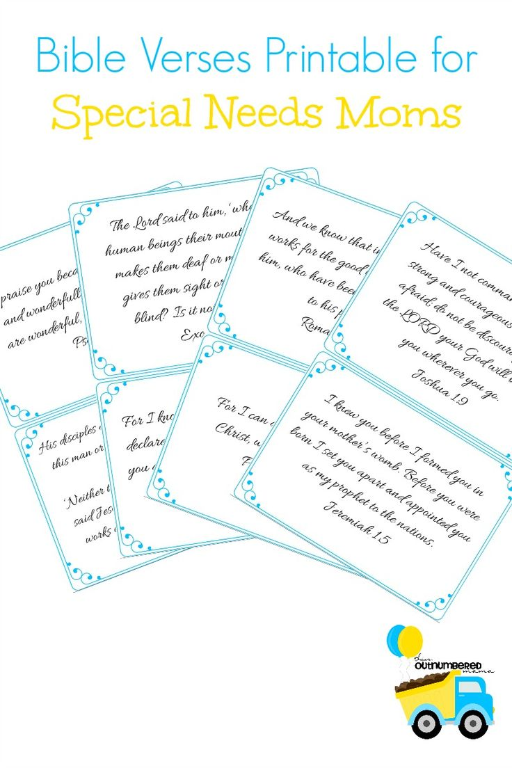 Being a special needs mom is hard! These are a few Bible verses that I cling to as a special needs mom for comfort made into a free printable to keep you encouraged throughout the day!