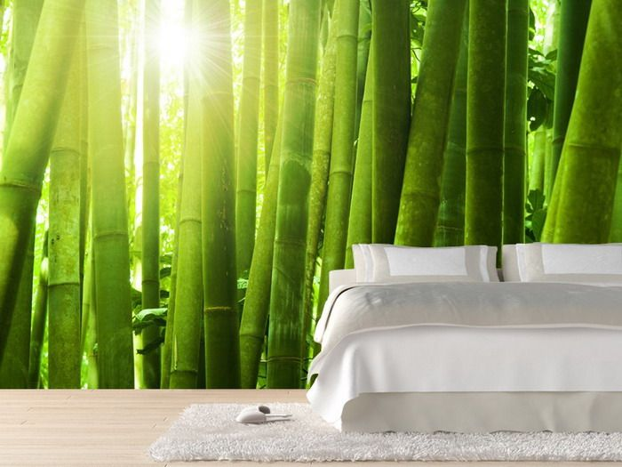 Bedroom design with bamboo forest wall mural the spirit of for Bamboo forest mural wallpaper