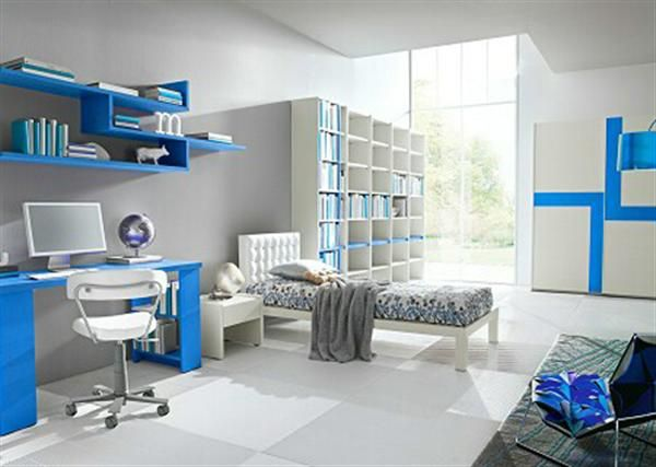 Sensational White Blue Interior Cool Room Designs For Guys