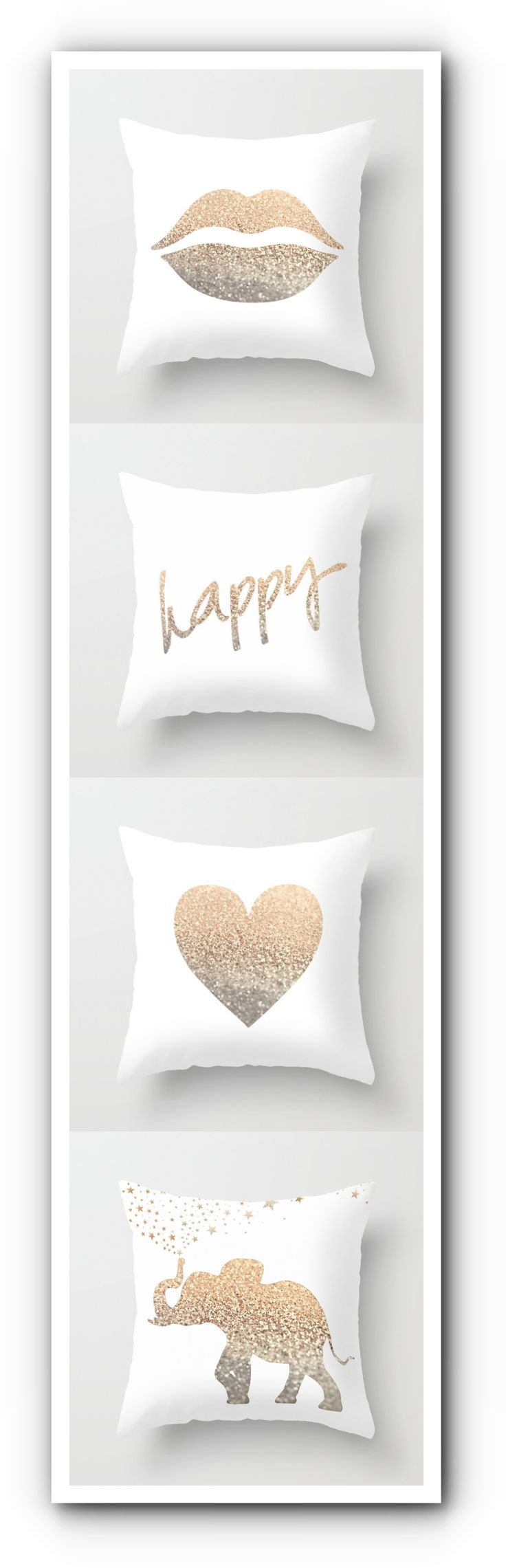Cute ... cute .... cute ! I want them all! Starting $20 - design by Monika Strigel #gold #pillow #lips #goldlips #heart #goldheart #pillow #cushion #cover #white #elephant #happy #cute #teenroom #teen #deco #decoration #scandi #homedecor #deer #stag #antler