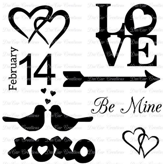 Love Themed SVG Cut Files - Valentines Day - Love Birds, Hearts, February 14, XOXO