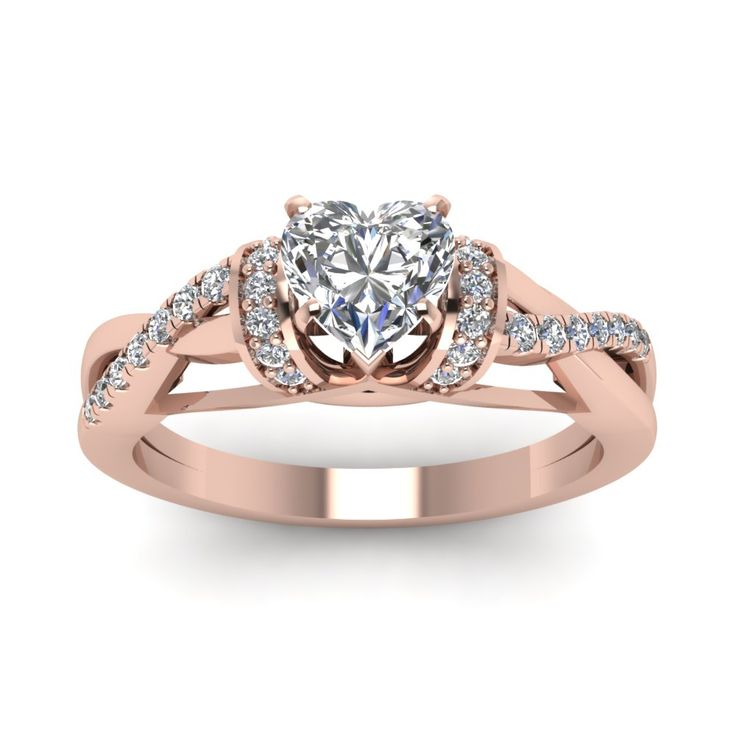 Heart Shaped Split Shank 1 Carat Engagement Ring with Diamonds in 18K Rose Gold exclusively styled by Fascinating Diamonds