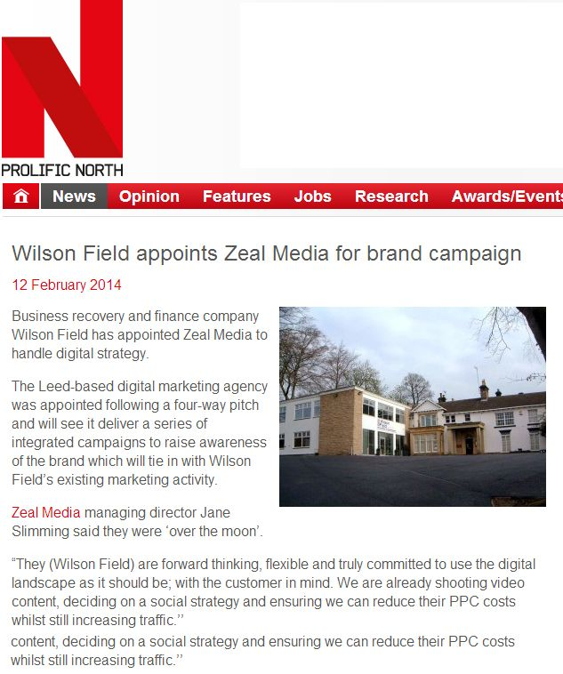 Prolific North celebrates our client win of Wilson Field.