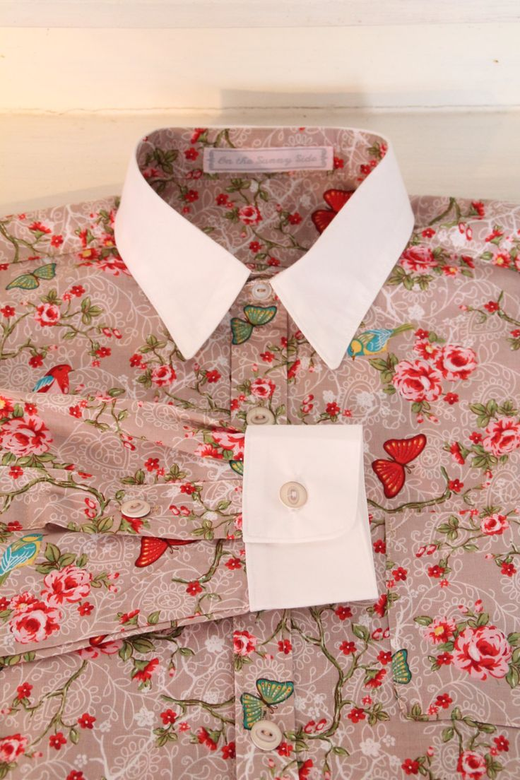 Dress shirt with floral print 'Bird' brown, bespoke shirt, vintage inspired dress shirt - pinned by pin4etsy.com