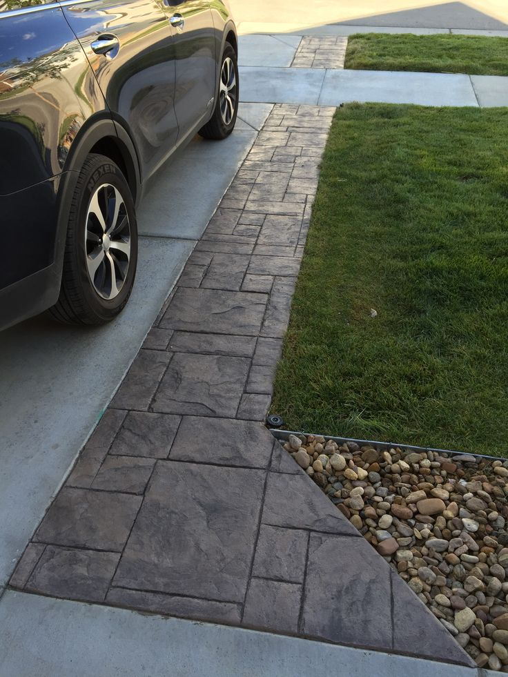 Driveway Extension In Grand Ashlar Stamped Concrete With Solomon Colors,  Dry Pigment Ready Mix SGS