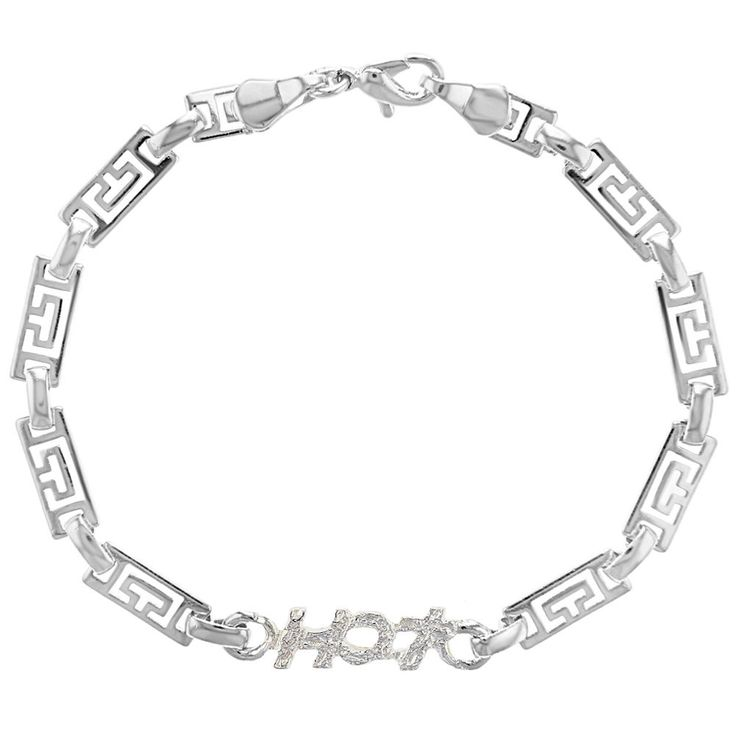 """Silver Plated Greek Key Bracelet For Women And Teens 7.5"""""""