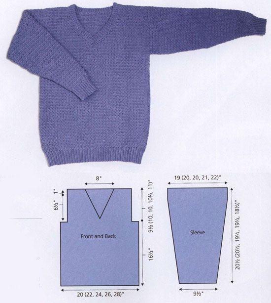 Men's v-neck sweater free crochet pattern