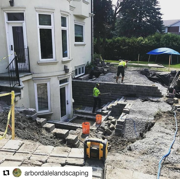 Can't wait to see the finished product @arbordalelandscaping  Re-building this walkout for some clients of ours in Thornhill.  Never trust someone who hasn't a clue about drainage materials and load bearing capacities of a wall... #arbordalelandscaping #arbordale #landscaping #landscape #landscapedesign #hireaprofessional #professional #landscaper #landscapeconstruction #drainage #wall #walkout #backyard #thornhill #toronto #gta #makeitright #doitrightthefirsttime #love #like #followme…