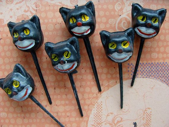 Vintage halloween Kitsch 1950s Cupcake picks by reginasstudio, $12.95