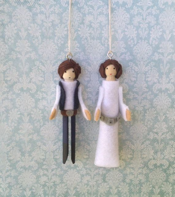 Han Solo and Princess Leia Clothespin Doll Ornaments